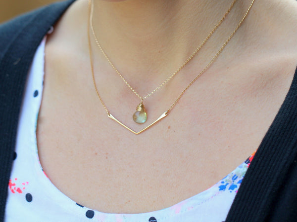 14K Gold Fill Petite Chevron Necklace