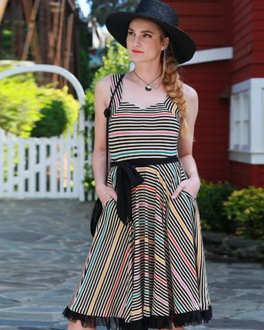 Cinema Dress in Prism Stripes- XS Only
