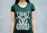 Carnivorous Plants Scoop Neck T-Shirt in Deep Green