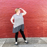Autumn Top in Black and White Stripes