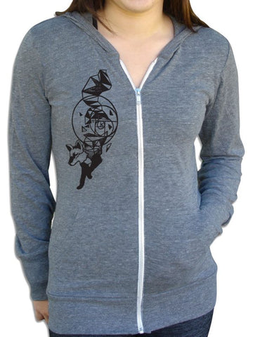 Space Fox Unisex Hoodie in Gray