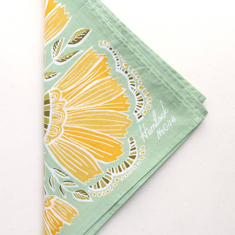 Bandana with Golden Floral on Sage Green