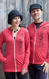 Unisex Hedgehog Hoodie in Coral Red