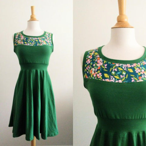 Emerald Green Fit and Flare Dress with Patterned Yoke