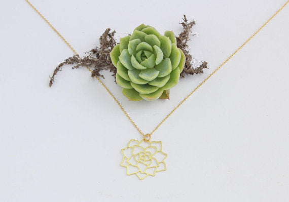 Gold Succulent Necklace