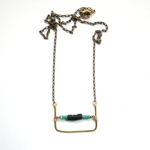 Turquoise and Black Beaded Necklace