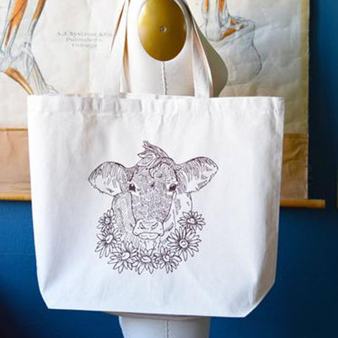 Cotton Tote Bag- Cow+Flowers