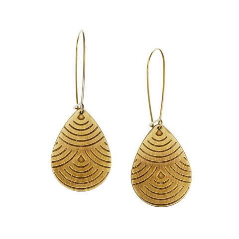 Raindrop Brass earrings by Ten 2 Midnight Jewelry