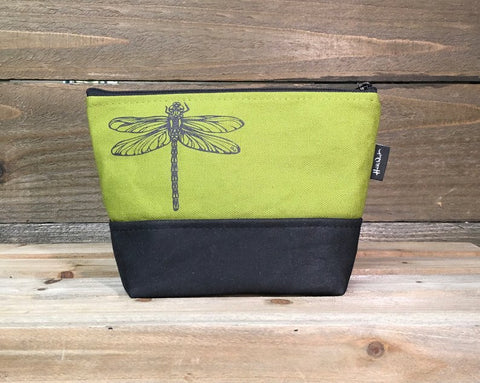 Screenprinted + Waxed Canvas Cosmetic Pouch