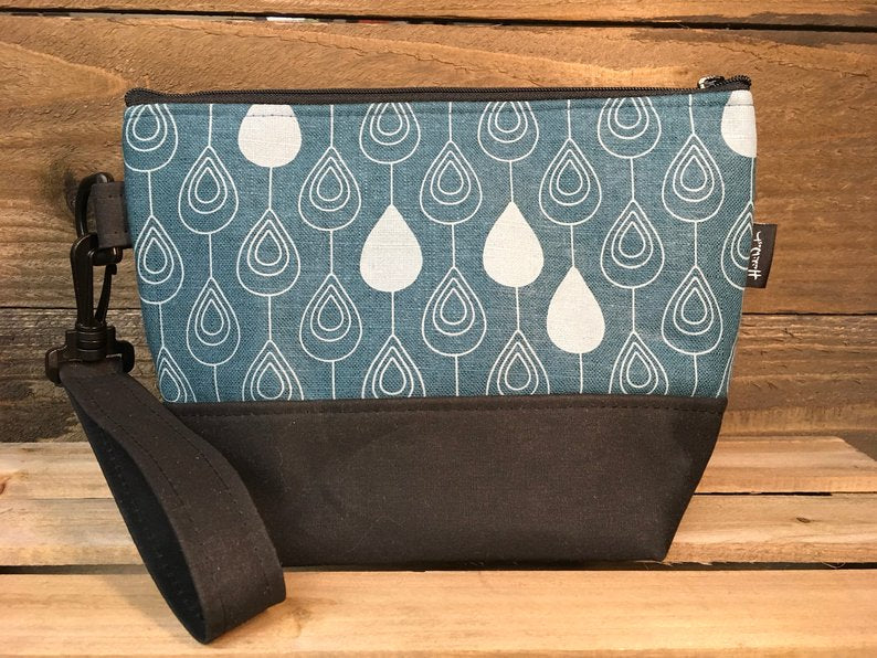 Big Waxed Canvas +Screenprint Wristlet