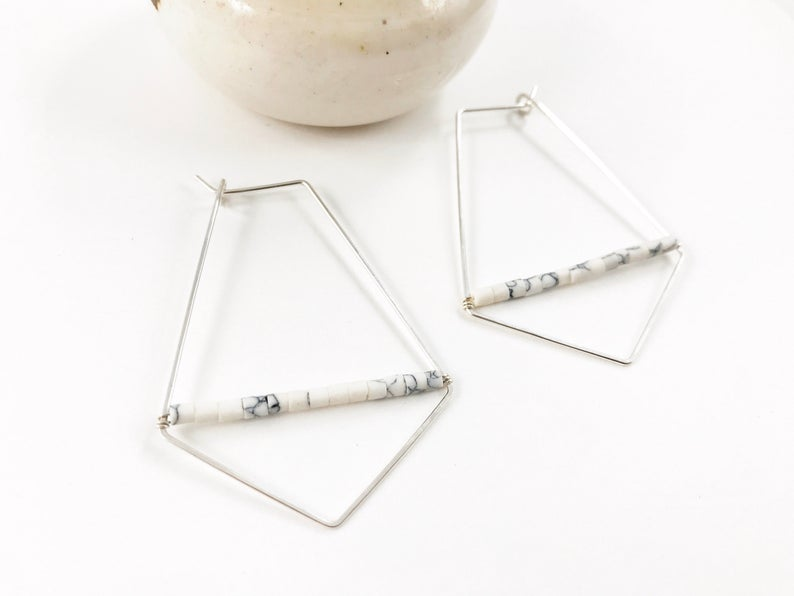 Howlite Beaded Hoop Earrings
