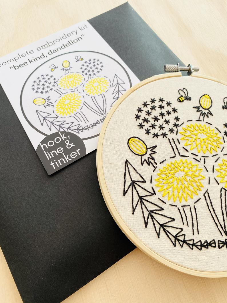 """Bee Kind, Dandelion"" Embroidery Kit"