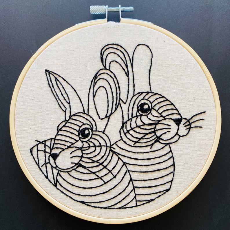 """Rabbit Rabbit"" Embroidery Kit"