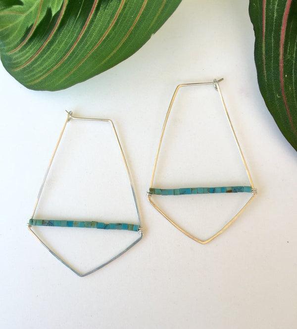 Hammered Wire +Turquoise Beaded Hoop Earrings