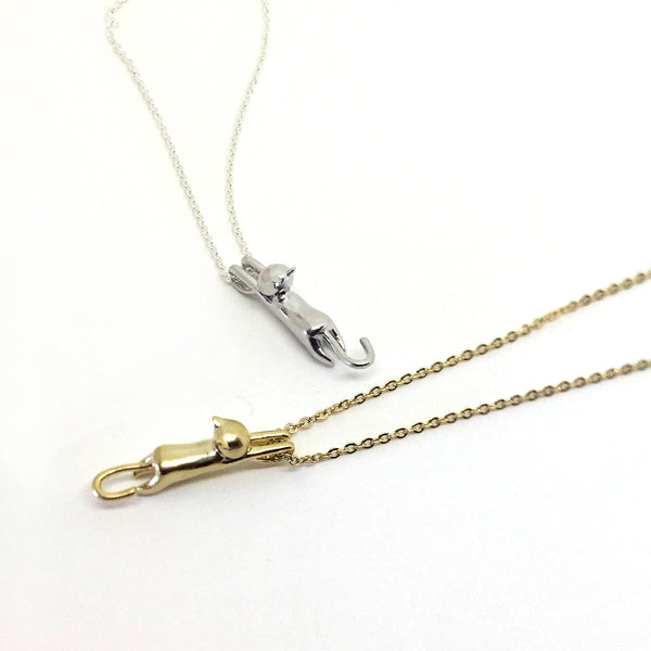 Hanging Cat Dainty Necklace