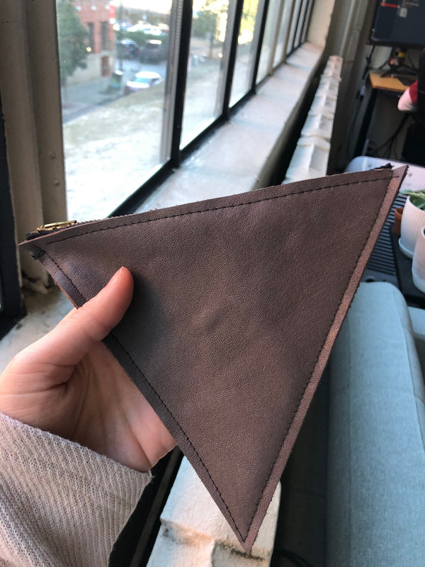 Triangle Zip Pouch-  Recycled Leather