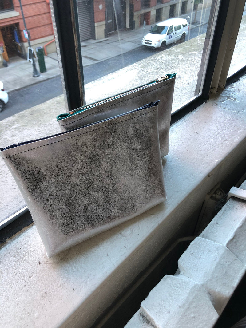 Vegan Silver Faux-Leather Makeup Bag