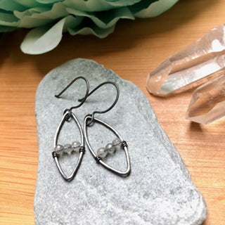 Oxidized Silver Marquis Earrings- Various stones