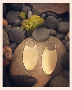 Brass and Silver Oval Earrings