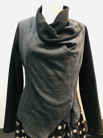 Grey and Black Drape Moto Jacket