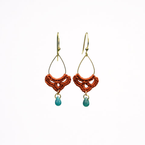 Teardrop Tiny Swag Earrings - Rust