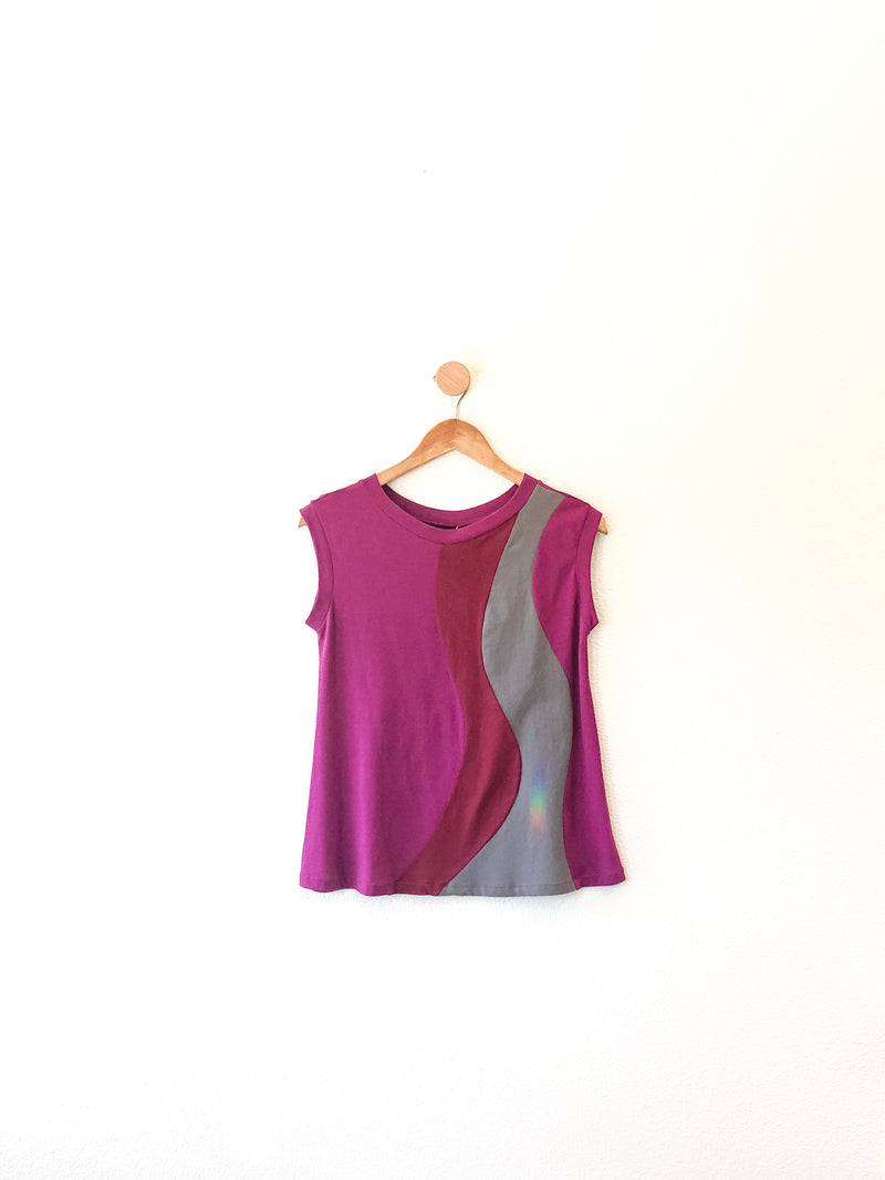 Ripple Top- OOAK Fucshia