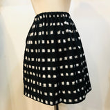 Ikat Cotton Skirt in Black and White Block Print