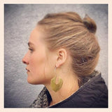 Brass and Silver Shield Earrings