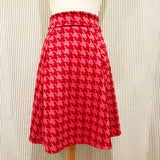 Daphne Skirt in Pink + Red Houndstooth