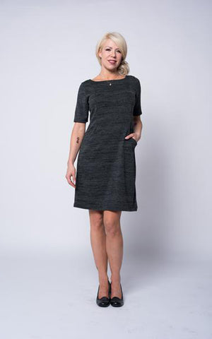 Lena Sweater Dress in charcoal knit