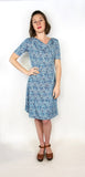 Lizbeth Cowl Dress in Blue Scrolls
