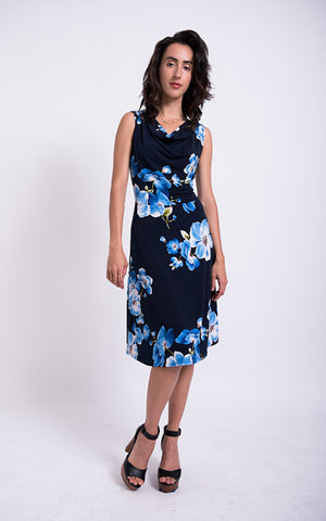 Cowl Dress in dark blue floral print