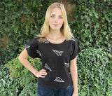 Airplane Print Boxy Top in Black