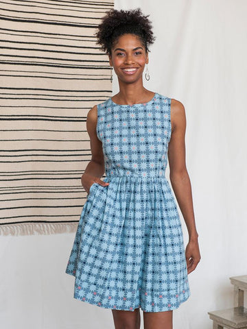 Tic Tac Dress in Blue Quilt