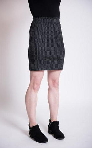 Women's miniskirt in charcoal tiny houndstooth ponte knit