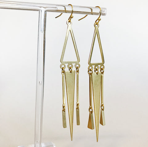 Long Triangle Dangle Earrings