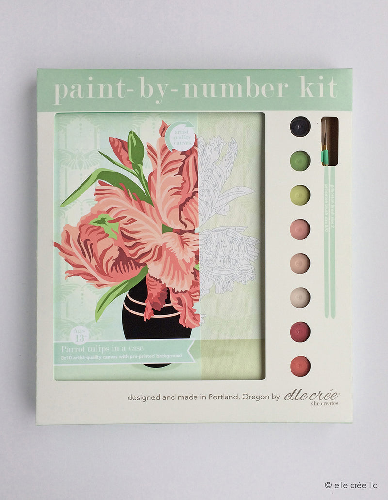 Parrot Tulips in Vase Paint by Numbers Kit
