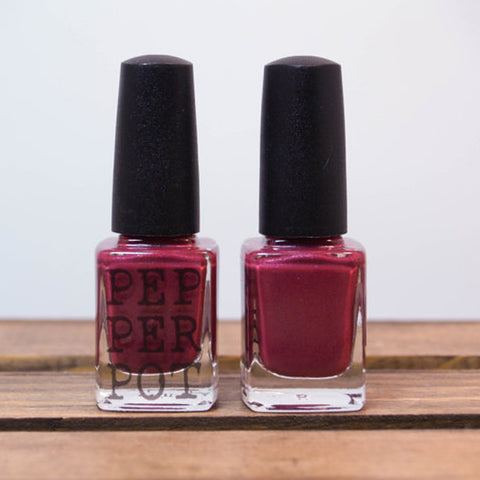 Brazen fruity red 5-free nail polish made in Washington