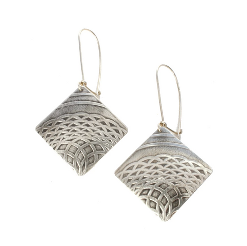 Talisman Diamond Drop Earrings in Sterling Silver
