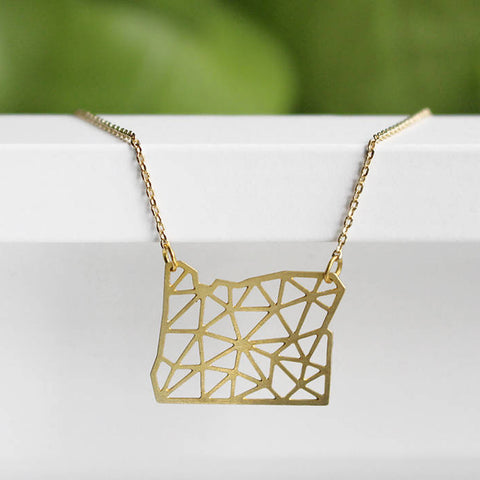 Geometric Oregon State Necklace by A tea leaf