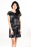 T-shirt Dress in Black Crosshatch Print