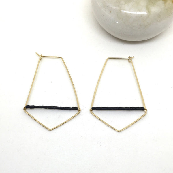 Gold fill and black jade geometric hoop earrings