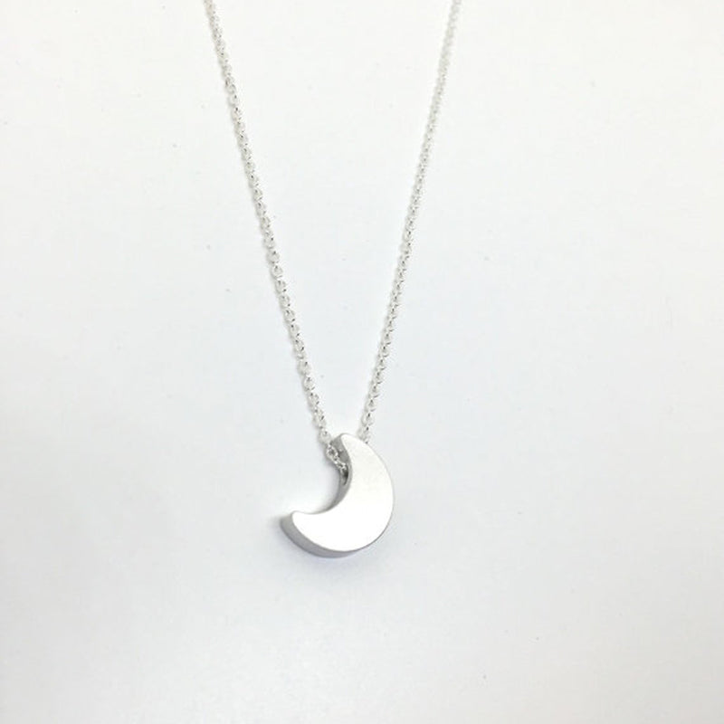 Little Silver Crescent Moon Charm Necklace made in Portland