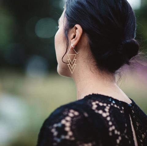 Tiered Triangles Earrings