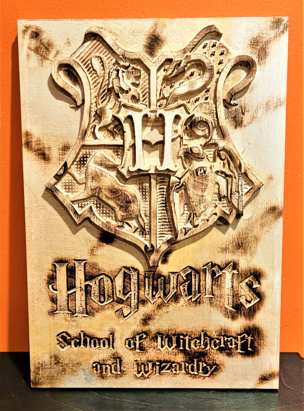 Hogwarts Harry Potter 3D Carve Wood Sign Wall Art Horde Man Cave