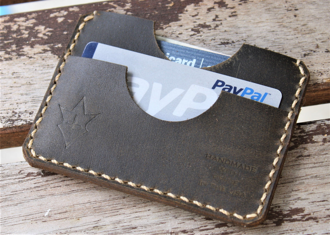 Handmade Leather PARVUS Wallet Shellshock Coyote W/ Money Band