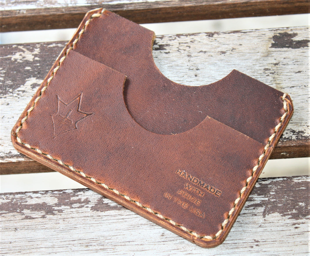 Handmade Leather PARVUS Wallet Sunset Oil Tan W/ Money Band