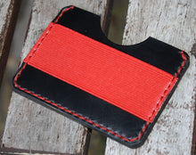 Handmade Leather PARVUS Wallet Black Chromexcel Red W/ Money Band