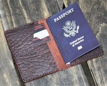 Handmade Cover or Wallet for Passport SINGRAPHUS Horween Leather Ol'Red Folklore Bison