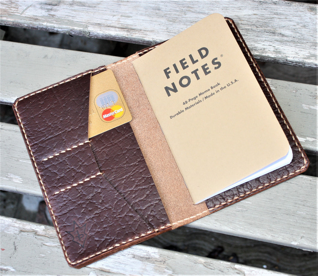 Handmade Cover for Field Notes Card Wallet SCRIBO Horween Chromexcel Leather Brown Roughneck Bison